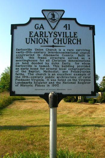 Earlysville Union Church Historical Marker 5 July 2010