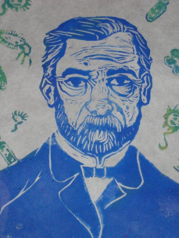 Louis Pasteur Linocut