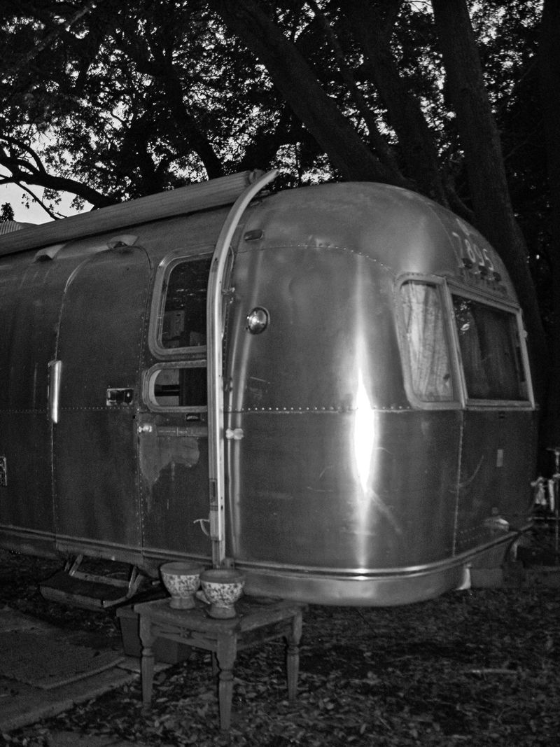 The Airstream after its Bath B&W 1 August 2011