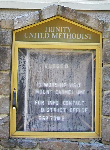 Trinity United Methodist Front Sign Close up 5 November 2011