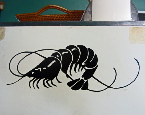 Shrimp on the deli box at McClellanville Diner
