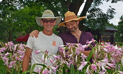 Jenks and Tom in the crinums Cropped 22 June 2013