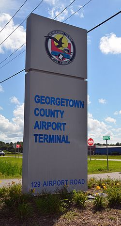 Georgetown County Airport Terminal Sign with WM 9 July 2013