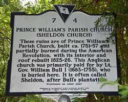 Prince William's Parish Church or Sheldon Church Historical Marker Side I 7 September 2013