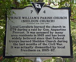 Prince William's Parish Church or Sheldon Church Historical Marker 7 September 2013