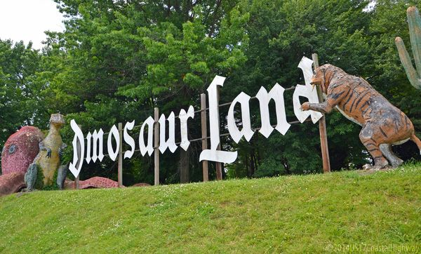 Dinosaur Land Sign White Post VA with WM 10 June 2014